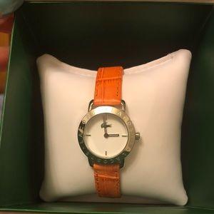 Lacoste orange leather watch